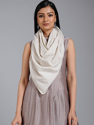 Ivory Block-printed Cotton Scarf
