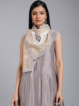 Ivory-Beige Block-printed Cotton Stole
