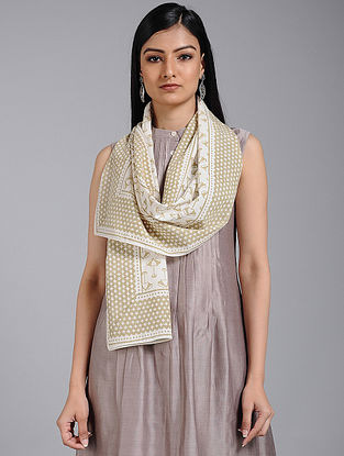Ivory-Green Block-printed Cotton Stole