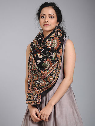 Black-Red Block-printed Cotton Dupatta