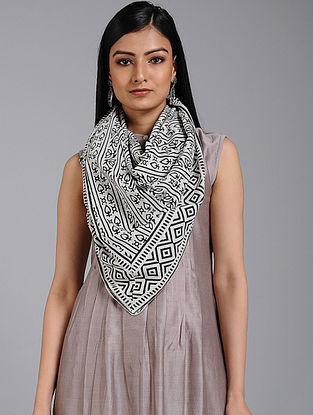 Ivory-Black Block-printed Cotton Scarf