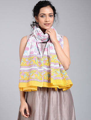 Ivory-Pink Block-printed Cotton Dupatta