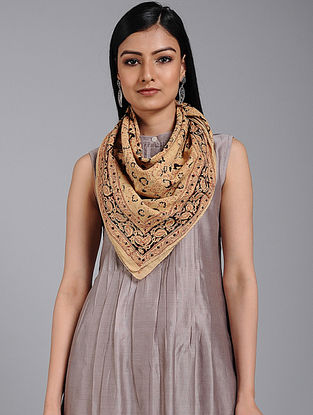 Beige-Black Block-printed Cotton Scarf