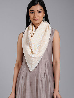 Ivory-Peach Block-printed Cotton Scarf