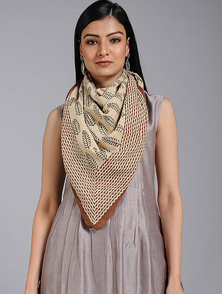 Beige-Brown Block-printed Cotton Scarf