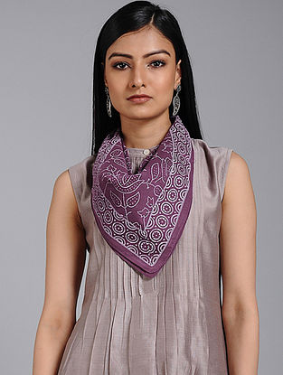 Purple-Ivory Block-printed Cotton Scarf