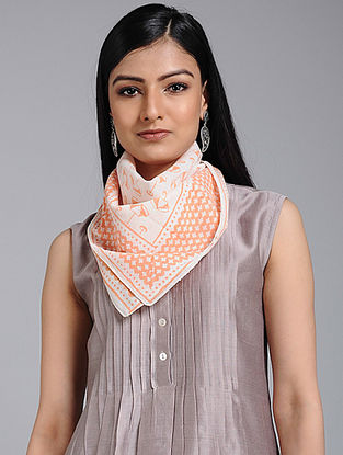 Ivory-Orange Block-printed Cotton Scarf
