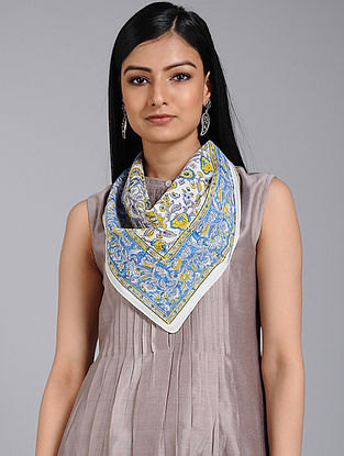 Blue-Yellow Block-printed Cotton Scarf