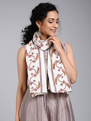 Ivory-Beige Block-printed Cotton Scarf
