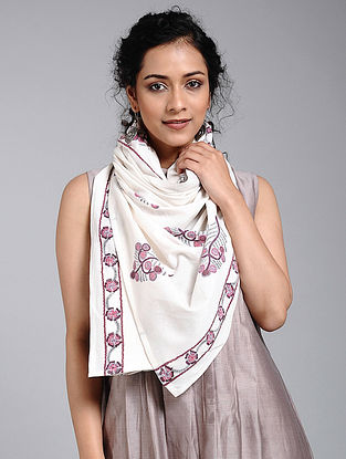 Ivory-Purple Block-printed Cotton Scarf