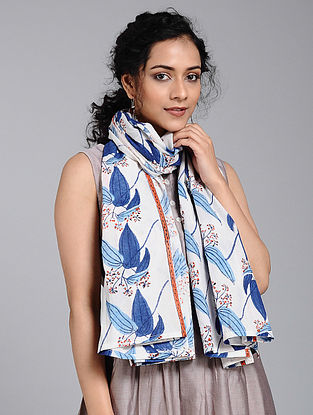 Ivory-Blue Block-printed Cotton Scarf