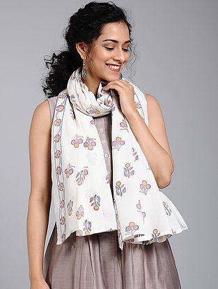 Ivory-Pink Block-printed Cotton Scarf