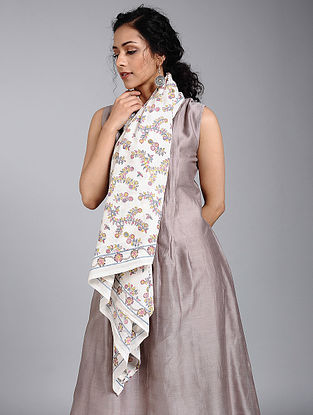 Ivory-Yellow Block-printed Cotton Scarf