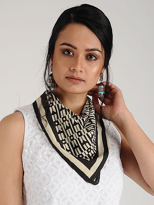 Black-Off White Block-printed Cotton Scarf