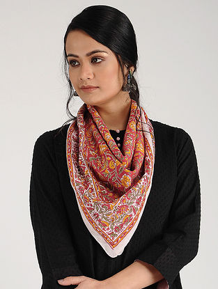 Red Block-printed Cotton Scarf