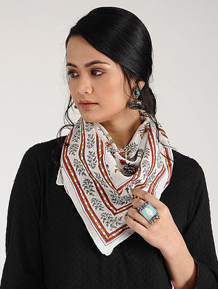 Red Green-White Block-printed Cotton Scarf
