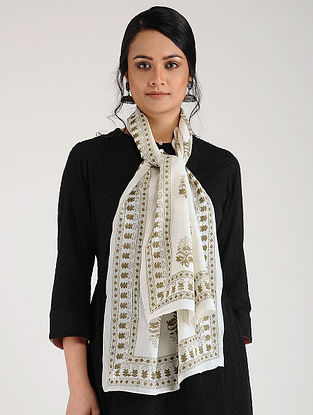 White-Green Block-printed Cotton Stole