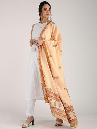 Peach Block-printed Cotton Dupatta
