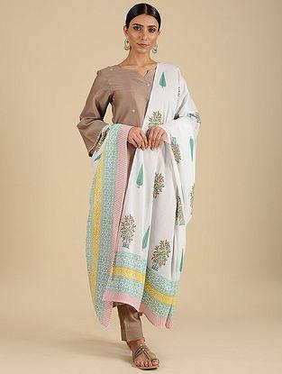White-Green Hand Block Printed Cotton Dupatta