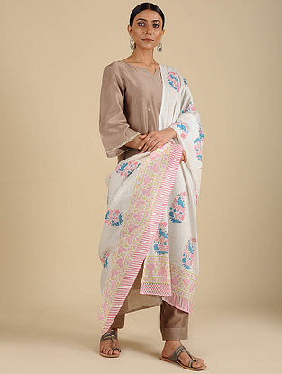 White-Pink Hand Block Printed Cotton Dupatta