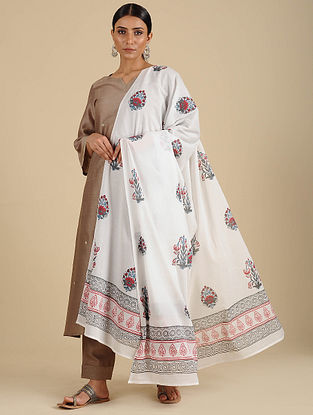 White-Black Hand Block Printed Cotton Dupatta