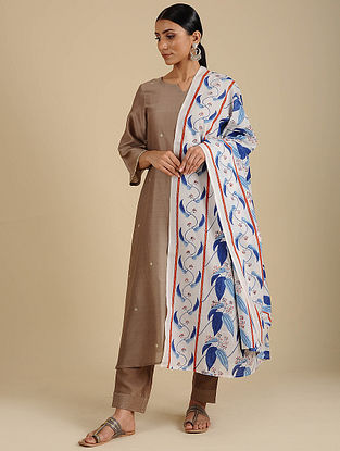 White-Blue Hand Block Printed Cotton Dupatta