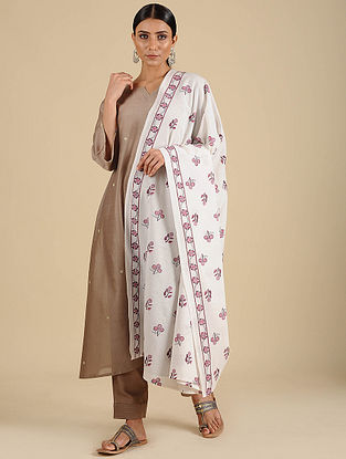 White-Maroon Hand Block Printed Cotton Dupatta
