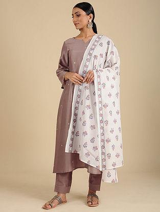 Ivory-Pink Hand Block Printed Cotton Dupatta