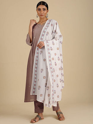 White Hand Block Printed Cotton Dupatta