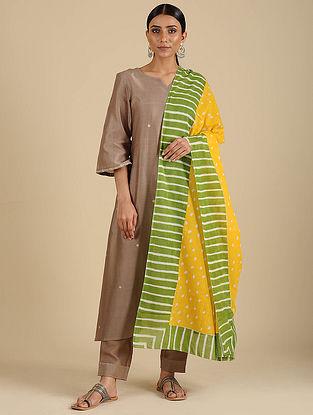 Yellow-Green Hand Block Printed Cotton Dupatta