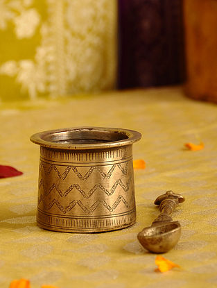 Vintage Handmade Brass Puja Pot with Spoon (Set of 2)