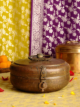 Vintage Handmade Brass Chapati Box (L - 10in, W - 9in, H - 5in)