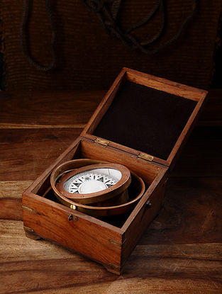 Vintage Handmade Wooden Compass Box (L - 8in, W - 8in, H - 5.5in)