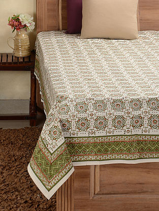 Green Hand-block Printed Cotton Double Bed Cover (106in x 90in)
