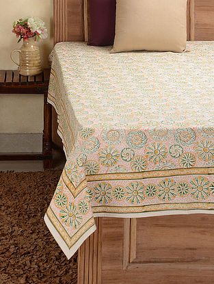 Green-Golden Hand-block Printed Cotton Double Bed Cover (104in x 89in)