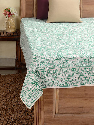Green-White Hand-block Printed Cotton Double Bed Cover (108in x 90in)
