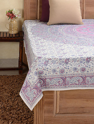 White-Purple Hand-block Printed Cotton Double Bed Cover (102in x 89in)