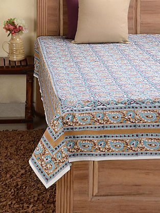 Turquoise-Brown Hand-block Printed Cotton Single Bed Cover (91in x 61in)