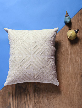 Off White Applique Cotton Cushion Cover (15in x 14in)