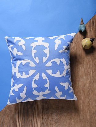 Blue-Off White Applique Cotton Cushion Cover (16in x 16in)