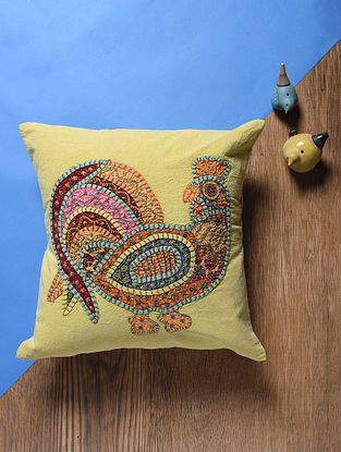Mustard-Multicolored Applique Cotton Cushion Cover (16in x 16in)