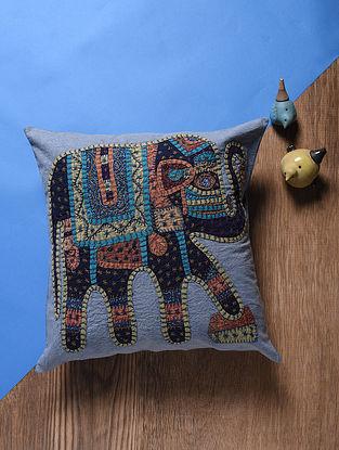 Grey-Multicolored Applique Cotton Cushion Cover (16in x 16in)