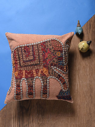 Pink-Multicolored Applique Cotton Cushion Cover (16in x 16in)