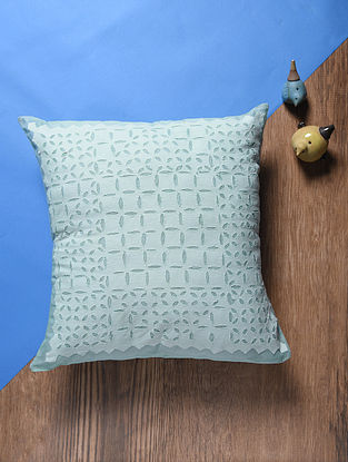 Blue Applique Cotton Cushion Cover (18in x 18in)