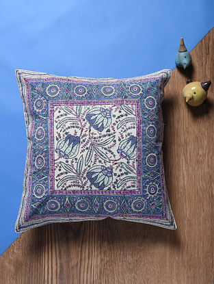 Blue Hand Block-printed Cotton Cushion Cover (17in x 17in)