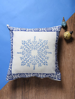 Blue-White Hand Block-printed Cotton Cushion Cover (18in x 18in)