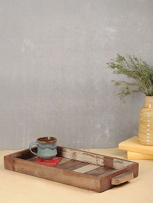 Vintage Brown Handcrafted Wood Tray (L:20in, W:8.6in, H:2in)
