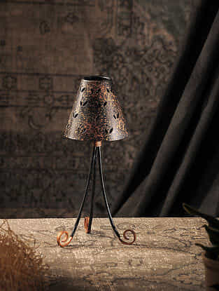 Brown Hand-painted Iron T Light Holder (L:12.5in, W:5.5in)