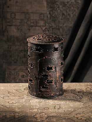 Brown Hand-painted Iron T Light Holder (L:6.2in, W:6.2in, H:10in)