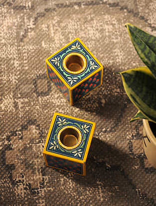 Blue-Multicolored Hand-painted Wood Candle Stands (Set of 2) (L:2in, W:2in)